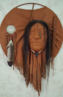 Vintage Native American Mask Leather Beads Feather Signed