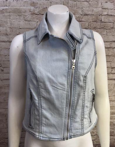 NWOT Sam Edelman Large Light Wash Denim  Sleeveless Zip Up Moto Vest Jacket