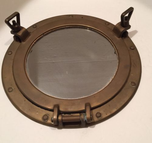 Vintage Antique BRASS PORTHOLE WALL MIRROR Nautical Decor Boat Ship 11 3/4