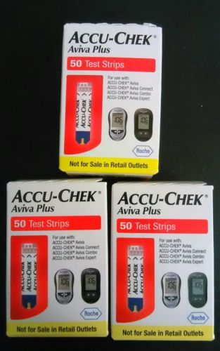 Accu Chek Aviva Plus Diabetic Test Strips 3 × 50 ct Exp 10/2017