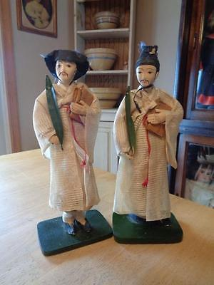 2 Vntg. Cloth Japanese/Chinese Cloth Men Dolls Holding Plant Leaf/Book~Mounted