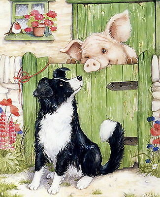 Old Vintage Art Print Farm Barn Animals Border Collie Pig Hog Peeping over Fence