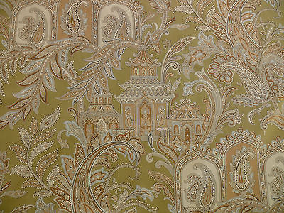 SCALAMANDRE PAGODA PAISLEY COTTON HANDPRINTED IN ITALY CREAM BROWN ON GREEN BTY