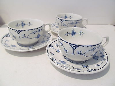 Franciscan Blue Denmark English Ironstone Cup & Saucer  Embossed ridges Set 3