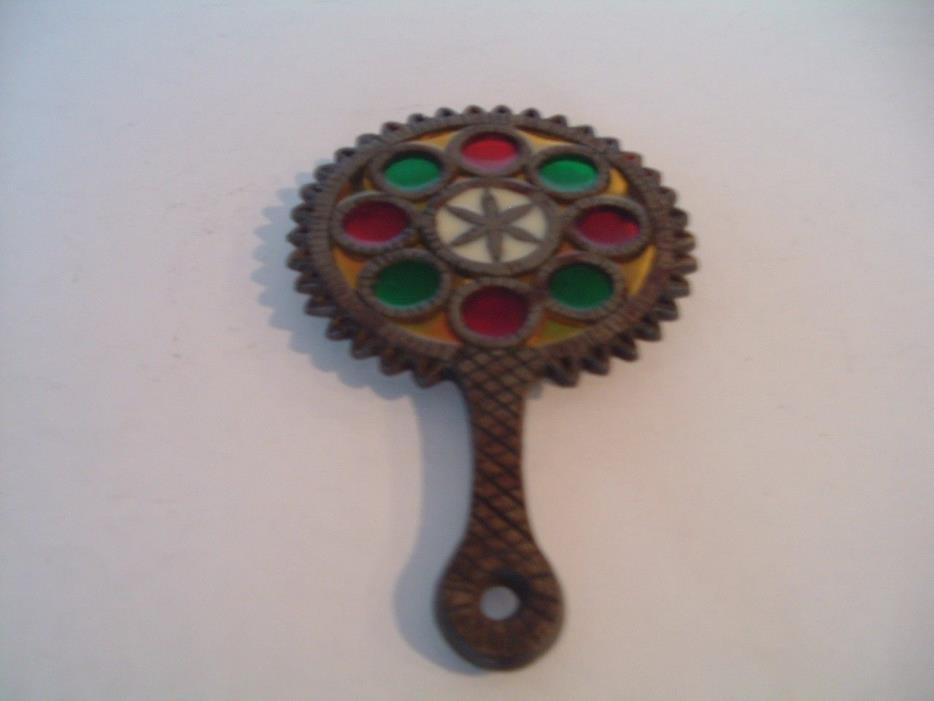 Vintage Stain Glass Trivet Cast Iron/Metal Hot PLATE   WOW