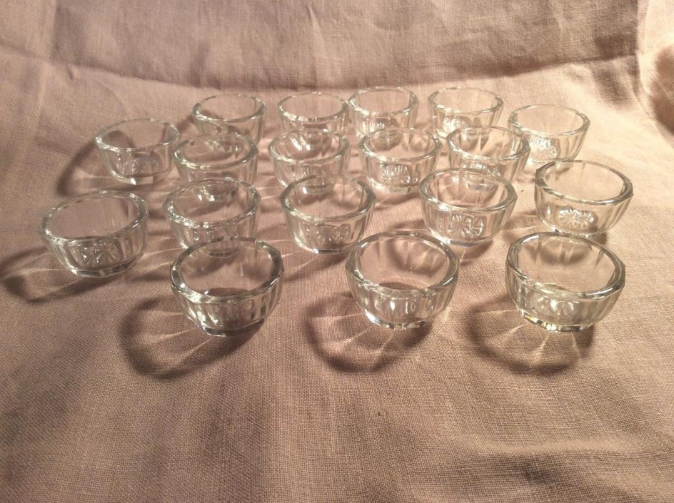 Lot of 18 Matching Crystal Clear Glass Round Open Salt Dips 10 panel Vintage