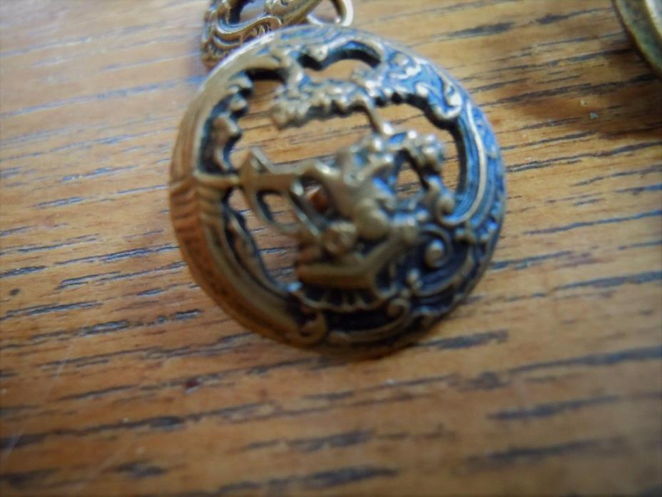 14 Antique brass openwork  motif buttons