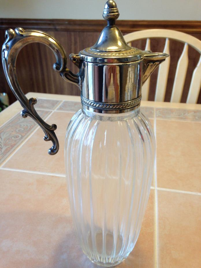 STERLING SILVER AND CRYSTAL PITCHER