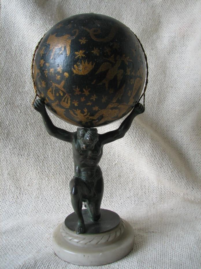 Vintage Antique BRONZE ATLAS Wood Globe Marble Stand