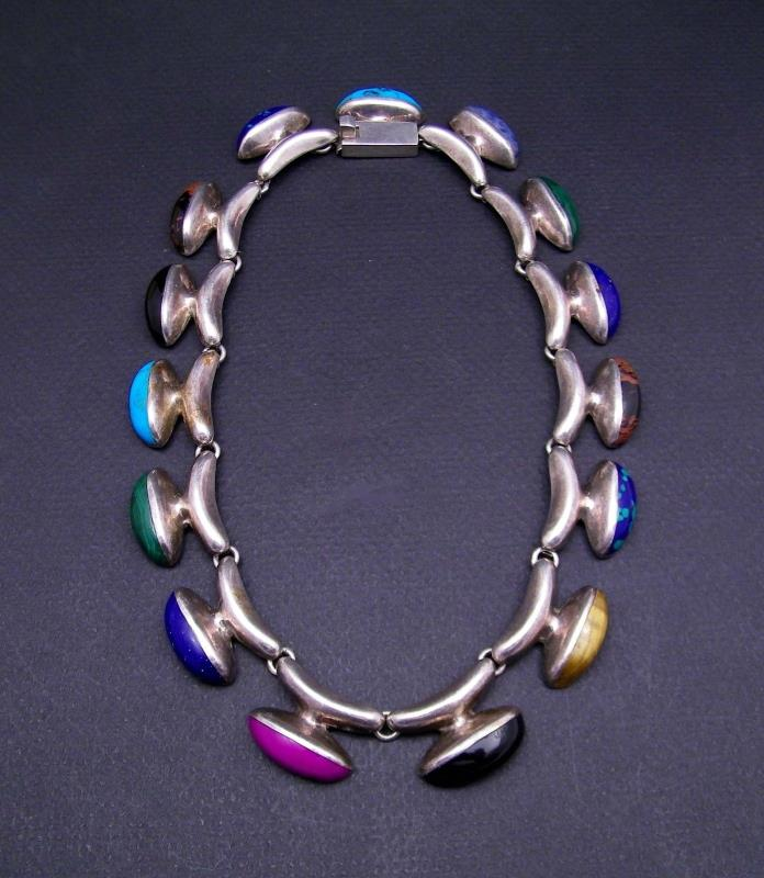 MID CENTURY MEXICAN NECKLACE STERLING SILVER + .950/1000 - ARTIST MARKED 15 GEMS