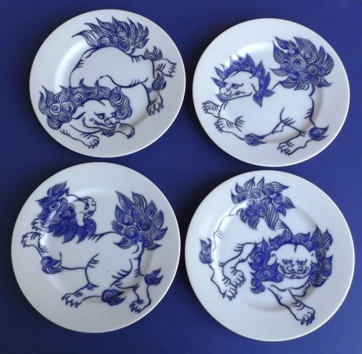 Vintage Fitz and Floyd Foo Dogs In Glaze Blue 4 Salad Plate Set Asian Lion 1977