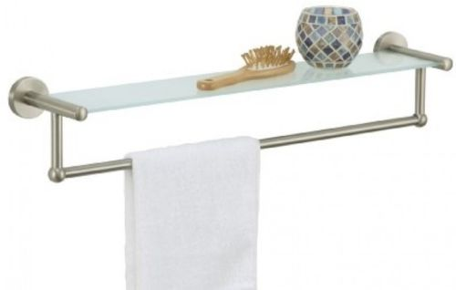 Glass Bathroom Shelf Nickel Towel Bar Rack Holder Wall Mount Storage Organizer