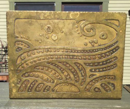 Forest Craft Guild Bookends RARE Hammered Etched Brass Arts Crafts Stickley Era