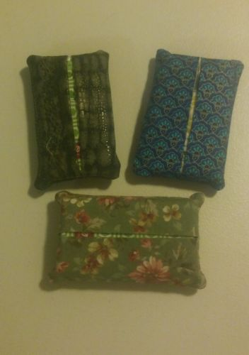 Set of 3 Purse Size Tissue Holders W/ Tissue