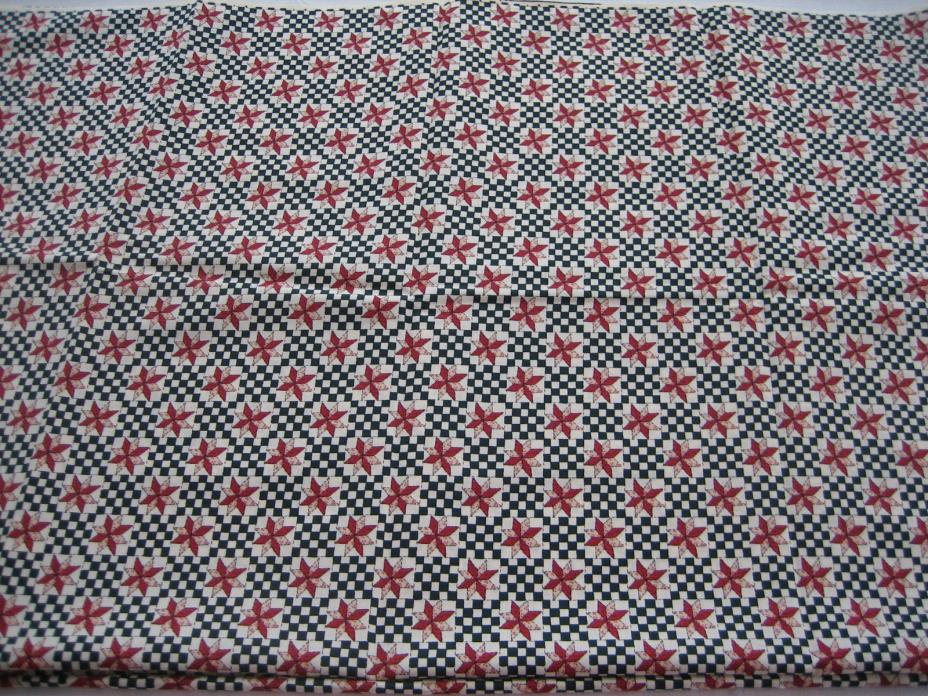 BTY 1 Yard NOS Fabric - Black, Red, Cream Check, Quilt Star Print - 44