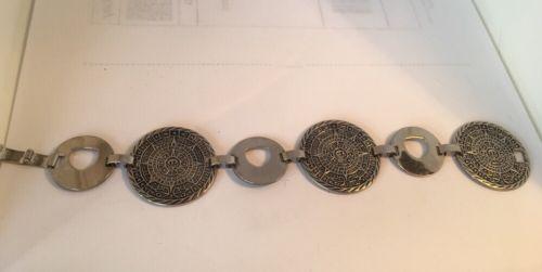Sterling Silver Mayan Calendar and Link Bracelet 44.5 grams