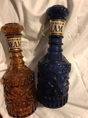 2 Vintage Jim Beam Glass Bonded Decanter Whiskey Bottle