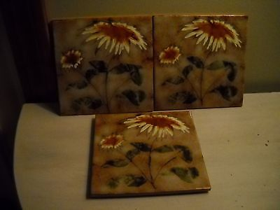3 Semigres Flowers Tile  Trivets  Made In Italy