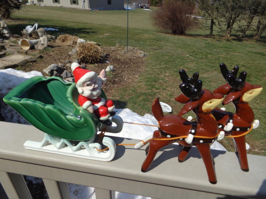 Vintage Napco Santa Sleigh w 2 Reindeer Reigns Ceramic Figurine w Labels
