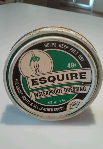 Vintage ESQUIRE Boot Shoe Polish Tin Waterproof Dressing
