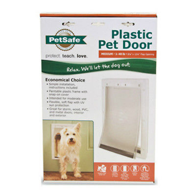 PetSafe PPA00-10959 Plastic Frame Pet Door, Medium, White