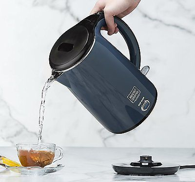 Small Electric Kettle Stainless Steel Double Walled Boil Pot Coffee Tea Warmer