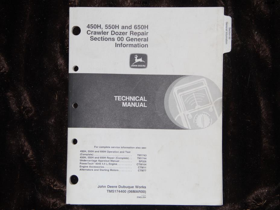 JOHN DEERE 450H 550H 650H dozer repair sec. 00 general info technical manual