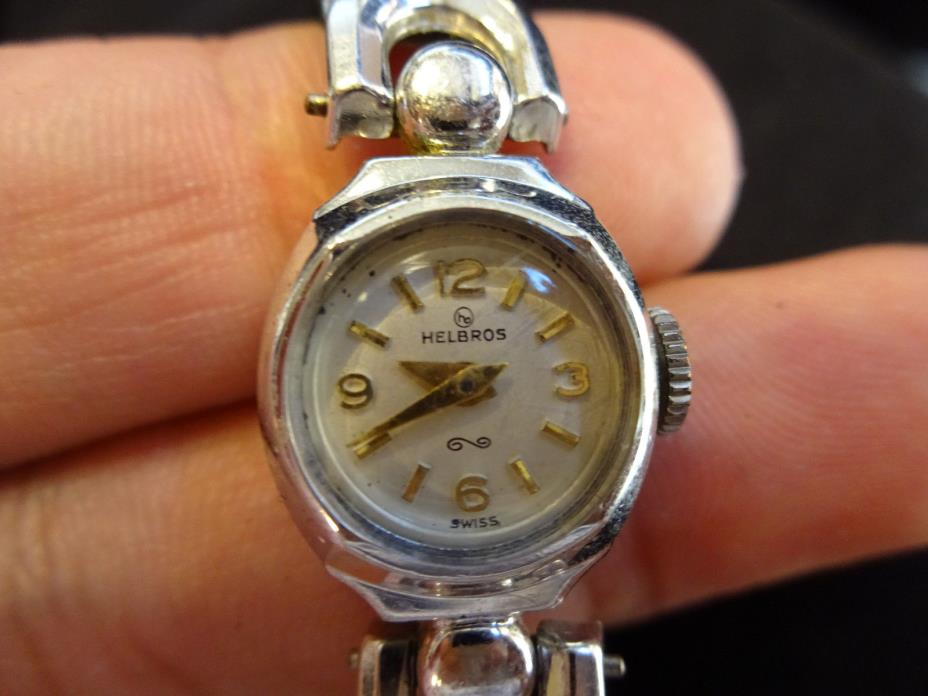 VINTAGE WOMENS HELBROS WRIST WATCH WORKS RUNNING SWISS 10K RGP BEZEL  MAJOR