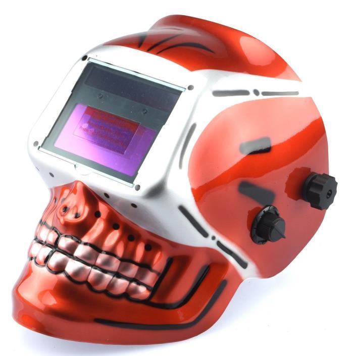 Auto-Darkening TIG/MIG Welding Helmet | Solar and Battery Powered Red Skeleton