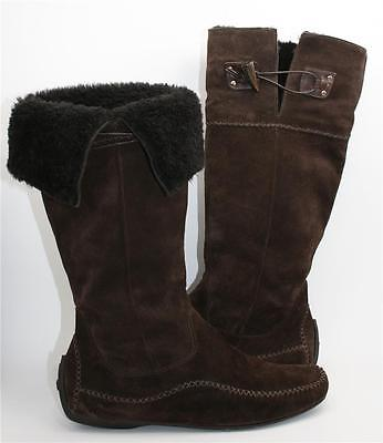 Fabulous FERRAGAMO Moccasin Style Brown Suede Mid-Calf Shearling Cuff Boots Sz9