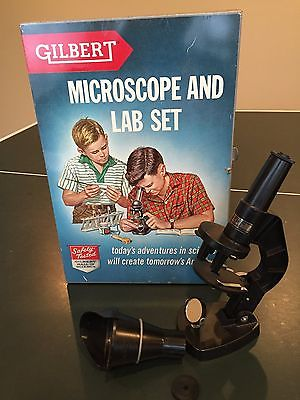Vintage 1950's Gilbert Microscope Metal Case with Microscope and assec.