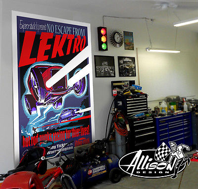 LEKTRO giant 4x6 retro hot rod sci fi Movie banner original Allison art