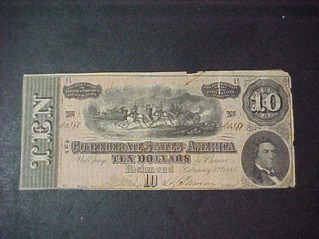 Nice 1864 Civil War Confederate 10  dollar bill