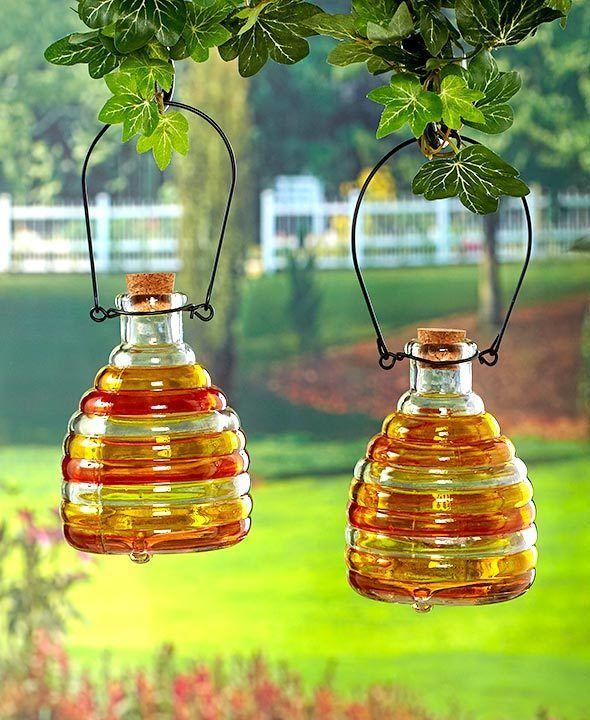 Wasp Trap Glass Wasps Traps Yellow Jacket Backyard Set of 2 Orange Yellow Patio