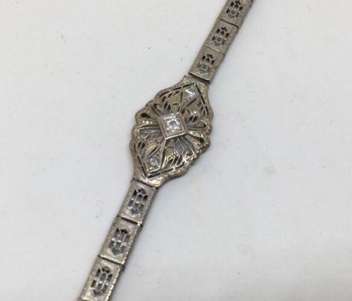14k White Gold Art Deco Filigree With Diamonds Antique Bracelet