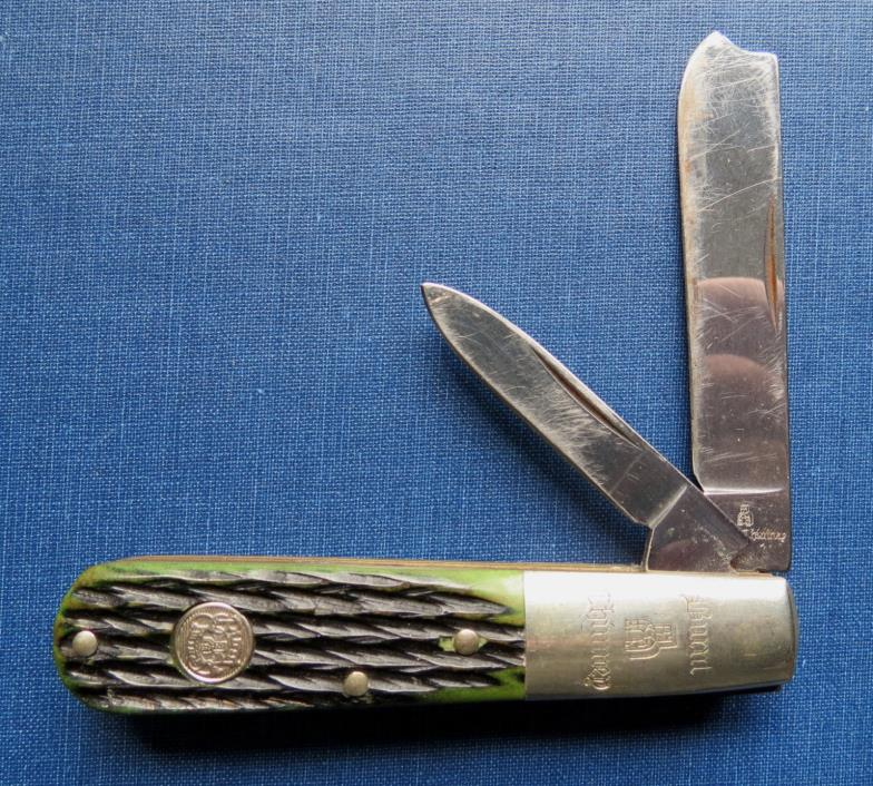 VINTAGE BURNT CHIMNEY 2 BLADE BARLOW POCKET KNIFE