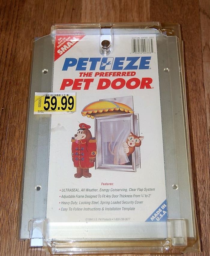 PET EZE TOP QUALITY ALUMINUM FRAME PET DOOR ~ UP TO 15 LBS CAT or 7 LBS DOG NEW!