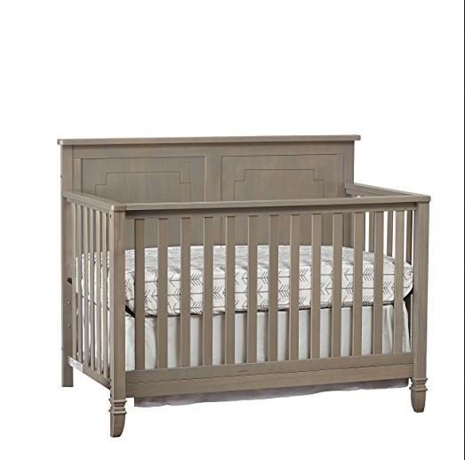 New Convertible Crib Gray Aged Wood Unisex