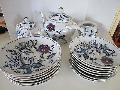 Blue Danube china teapot creamer/sugar saucers