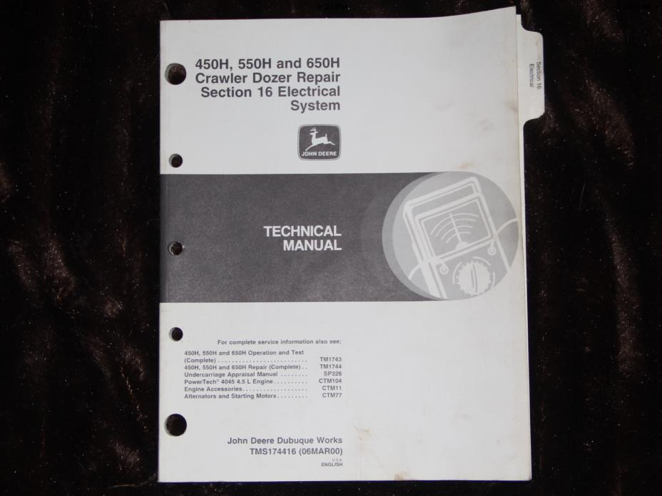 JOHN DEERE 450H 550H 650H dozer electrical system repair technical manual
