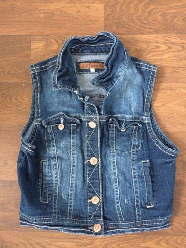 Wallflower large denim sleeveless vest
