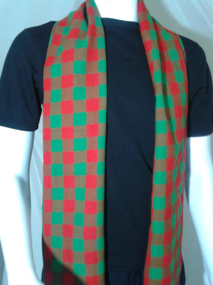 Authentic Kinloch Anderson Scotland Tartan Check Scarf Green & Red