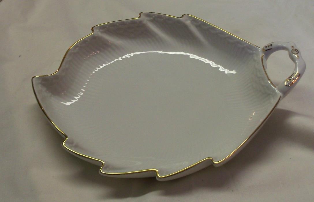 Royal Copenhagen Denmark Leaf Dish White with Gold