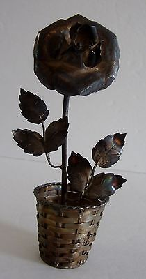 Vintage Sterling Silver 925 Flower w Basket Dollhouse Miniature Taxco Mexico 27g