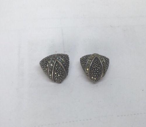 Designer Judith Jack Marcasite Earrings Sterling Silver Clips