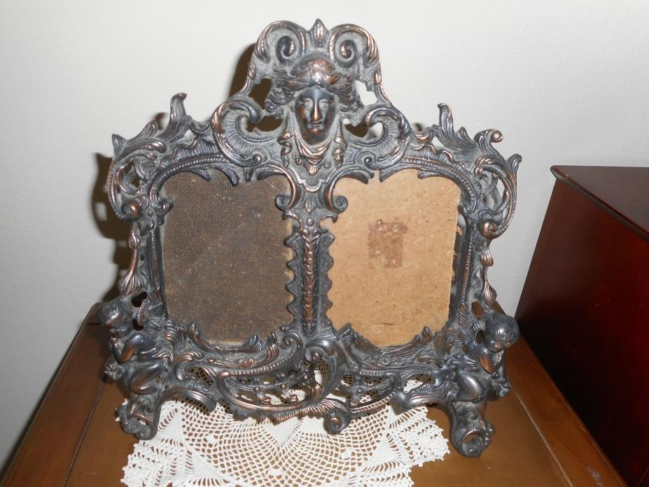 VICTORIAN ART NOUVEAU STYLE ORNATE TABLE  EASEL-BACK 2 PICTURE FRAME