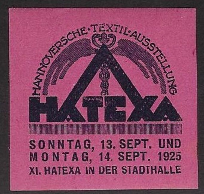 Poster/ Cinderella Stamp:1925 HATEXA Hanover Textile Exposition, Germany - dw725