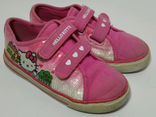 Toddler Girls Pink Hello Kitty Velcro Sneakers Shoes Size 10 Canvas w/ Sequins