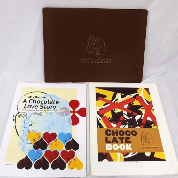 3 Max Brenner Books A Chocolate Love Story, Chocolate Book, Manual Handbook