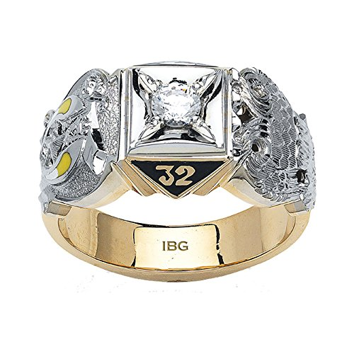 10k Yellow Gold Diamond Scottish Rite Masonic Ring